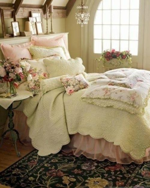 vintage-schlafzimmer-einzelbett-mädchen-kissen-bequem ...